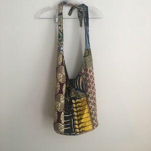 Cross body hobo bag fabric multipattern mix print